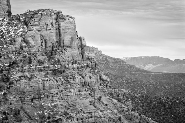 A rock wall at Shuntavi Butte, seen from the Kolob Canyon Road.