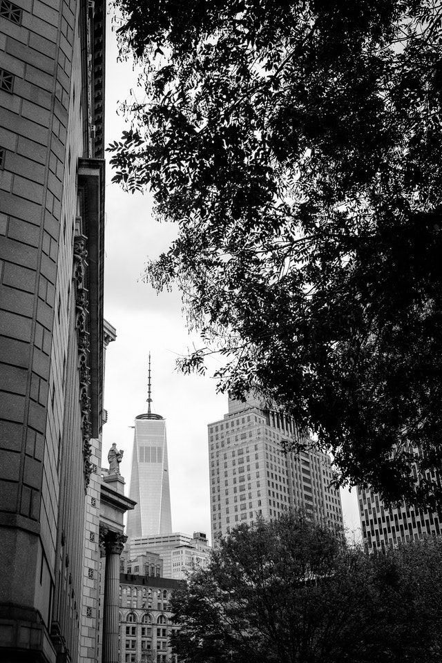 One World Trade Center, seen from downtown Manhattan.