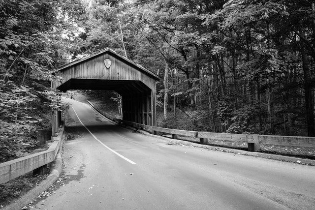 The covered bridge on the Pierce Stocking Scenic Drive.