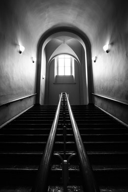 A stairwell at the National Building Museum.