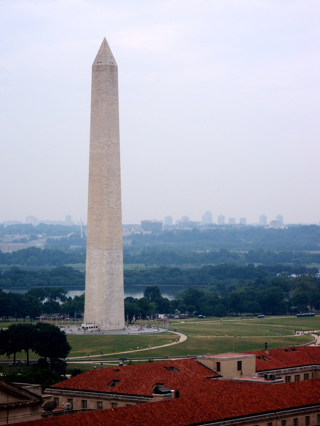 The Washington Monument, from the clock tower of the Old Post Office.