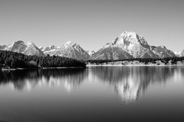 Mount Moran, reflected off the waters of Jackson Lake at Grand Teton National Park.
