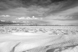 Grand Teton, seen behind the clouds in the background of a snow-covered field.