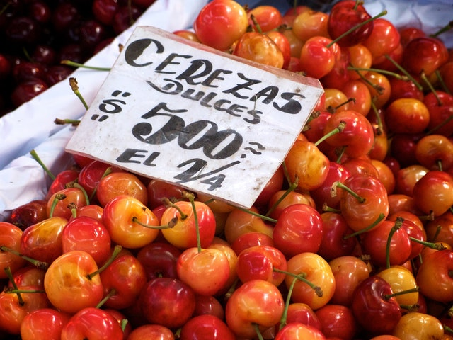 Sweet cherries at the Mercado Central de Santiago, Chile.