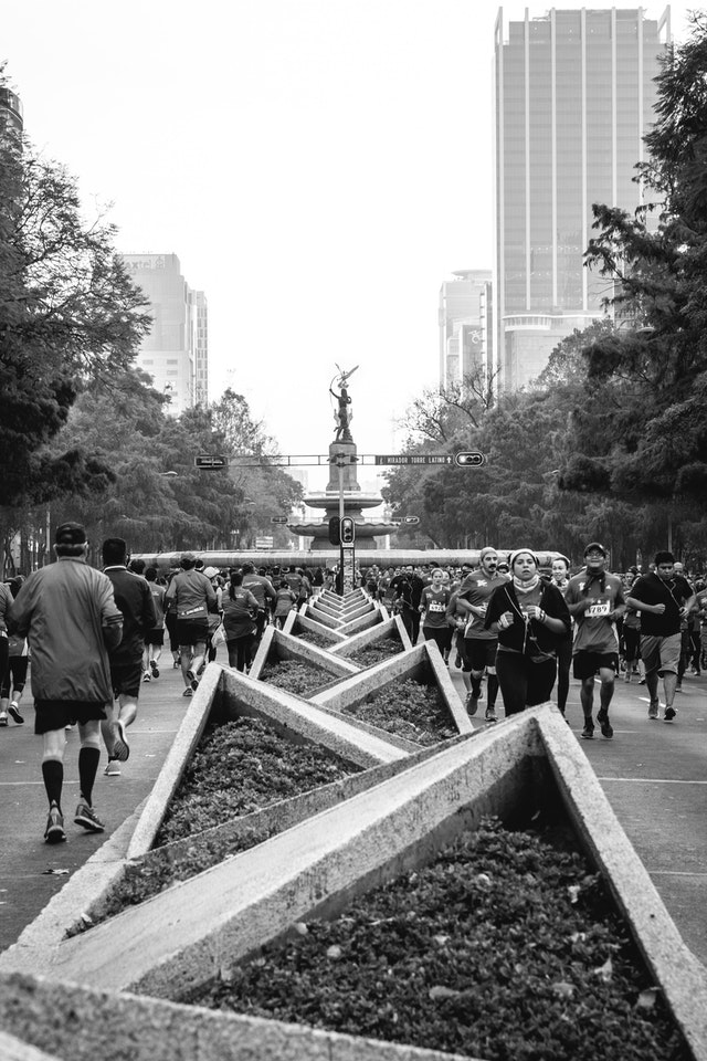 Runners on a race around the Paseo de la Reforma in Mexico City.