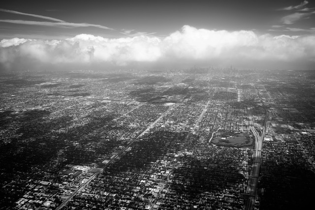 Aerial view of Chicago, shortly after takeoff from O'Hare.