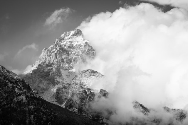 Grand Teton emerging from the clouds after a snowstorm.