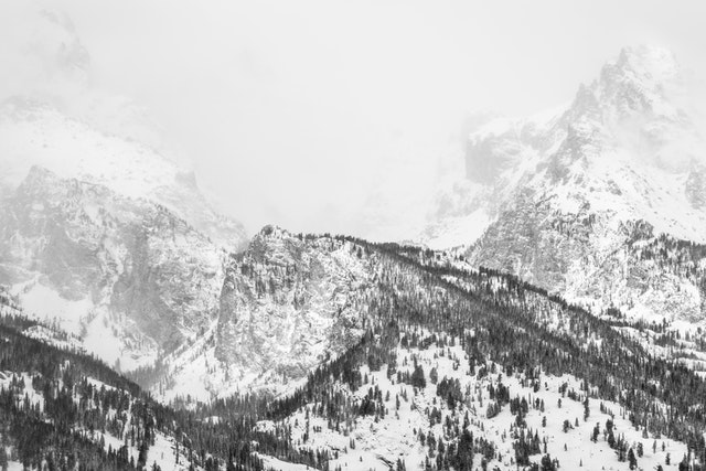 A close-up of the Tetons during a snow storm.