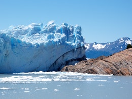 The point where the Perito Moreno glacier crosses the Rico arm of the Lago Argentino and reaches the other shore.