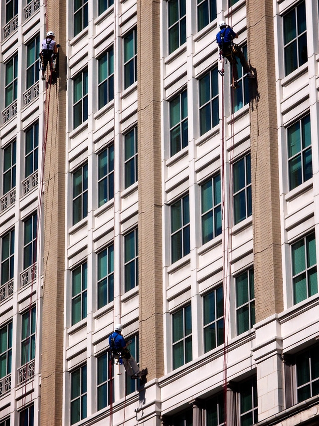 Window washers in downtown Washington, DC.