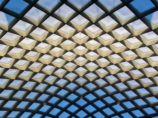 The glass canopy of the Courtyard of the National Portrait Gallery.