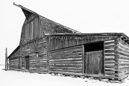 The front of the John & Bartha Moulton Barn at Mormon Row, Grand Teton National Park, during a snowstorm.