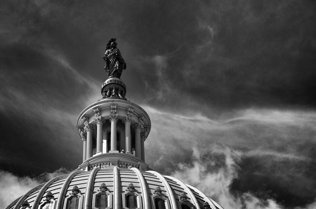 The Statue of Freedom at the top of the United States Capitol.