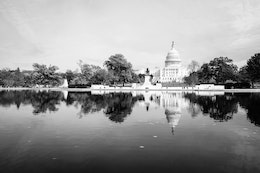 The United States Capitol Building and the Capitol Reflecting Pool.
