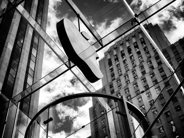 The Apple logo at the Fifth Avenue Apple Store, New York City.