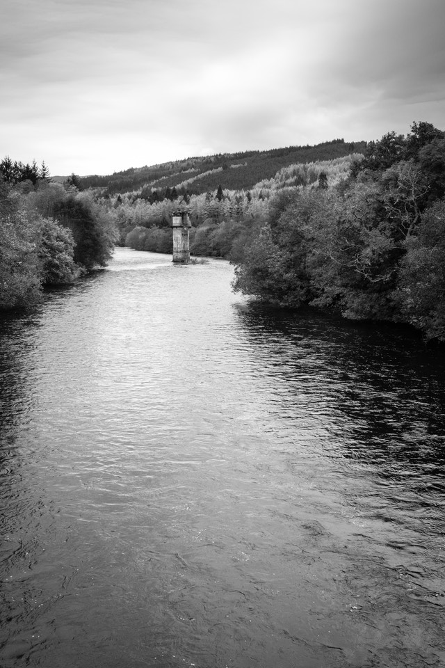 A structure on the River Oich in Fort Augustus, Scotland.