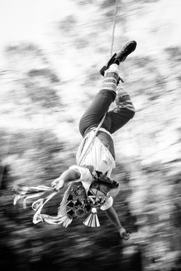 One of the Flying Men of Papantla, performing their dance.
