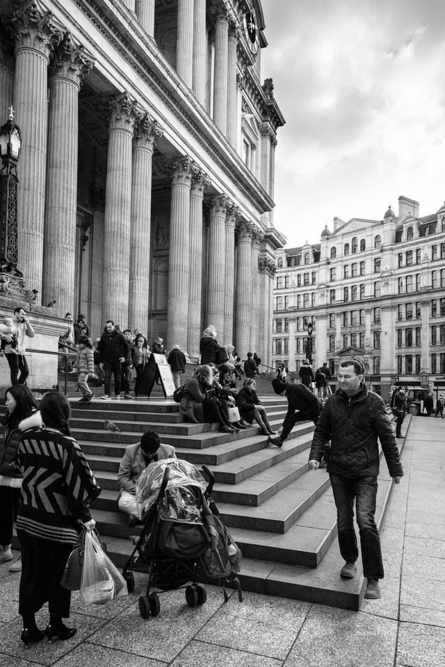 People on the steps of St. Paul's Cathedral, London.