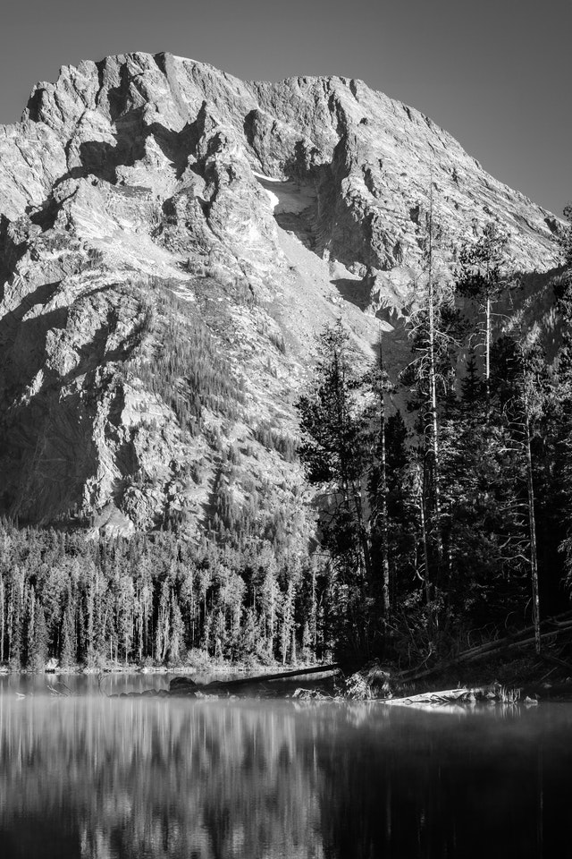 Mount Moran, seen from the shore of Leigh Lake. Boulder Island can be seen in the foreground.