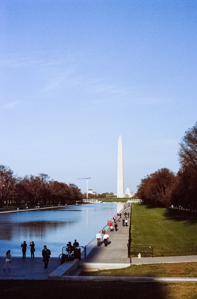 The Washington Monument and the Reflecting Pool.