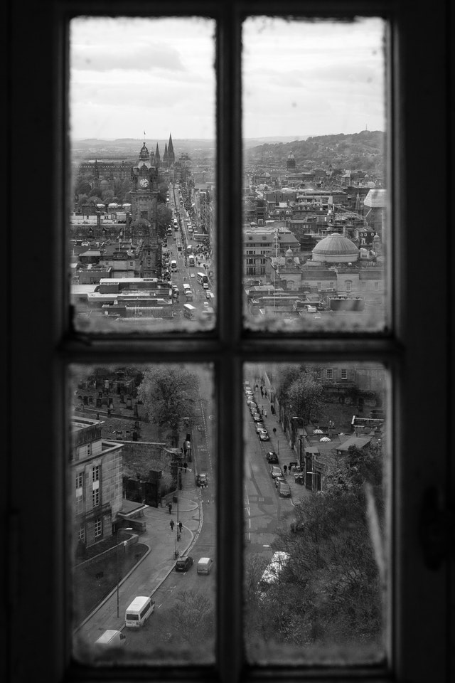 View of Princes Street in Edinburgh, from a window in the Nelson Monument.