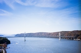 The Franklin Delano Roosevelt over the Hudson River, from the Walkway over the Hudson in Poughkeepsie, NY.