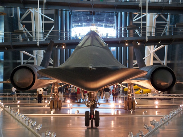 Front view of the Lockheed SR-71 Blackbird at the National Air and Space Museum Udvar-Hazy Center.
