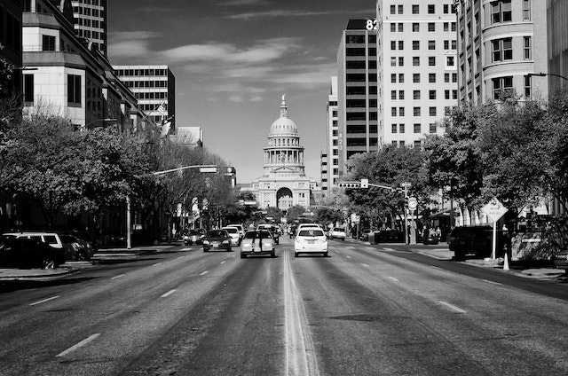 Looking down Congress Avenue in Austin at the Texas State Capitol.