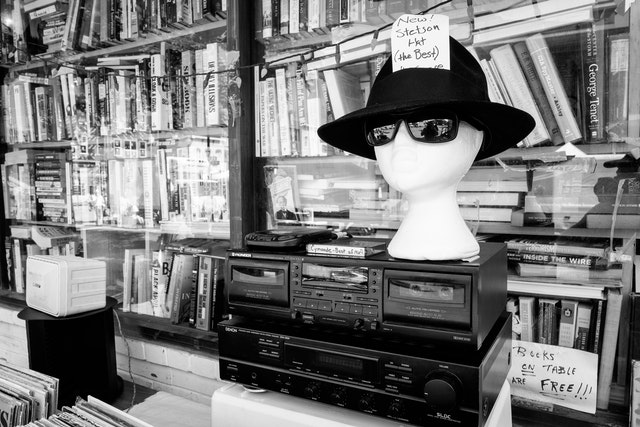 A stetson hat (the best!) for sale on a table at Capitol Hill Books.