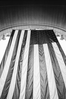 The flag of the United States, hanging outside Union Station in Washington, DC.