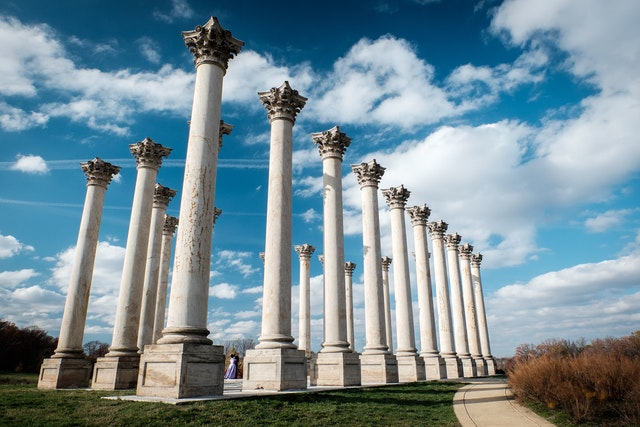 The National Capitol Columns at the United States National Arboretum in Washington, DC.