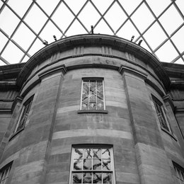 The interior of the Kogod Courtyard at the National Portrait Gallery.