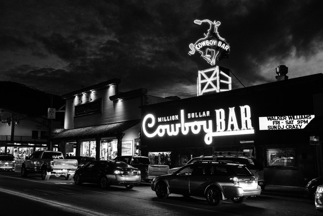 The Million Dollar Cowboy Bar in Jackson, Wyoming, at sunset.