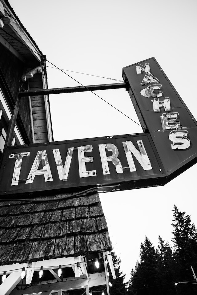 The sign in front of Naches Tavern in Greenwater, Washington.