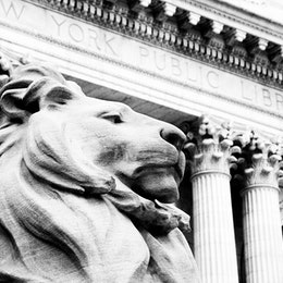 Sculpture of a lion outside the New York Public Library.