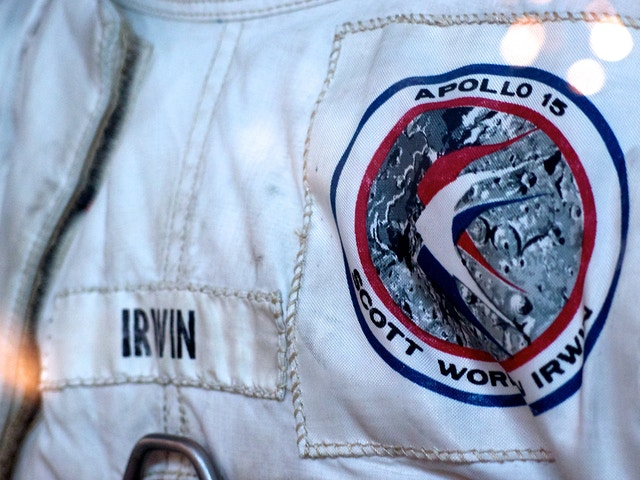 Close-up of James Irwin's Apollo 15 A7LB spacesuit.