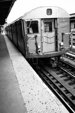 The J train arriving at the Marcy Avenue subway station in Williamsburg.