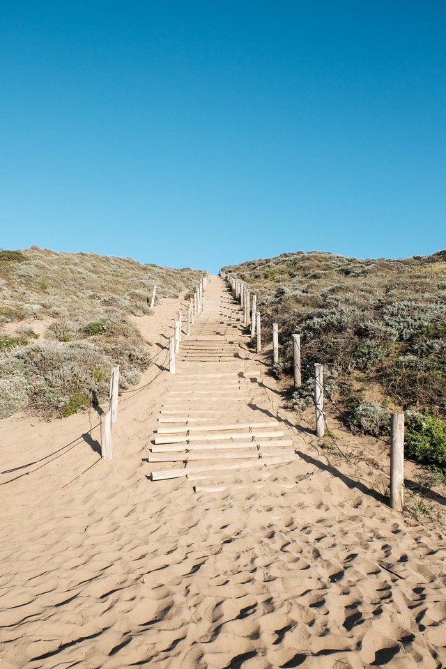 Stairs over a dune at Baker Beach, San Francisco.