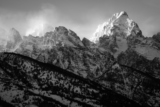 The Teton range at sunset.