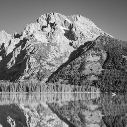 Mount Moran, reflected in the waters of Leigh Lake.