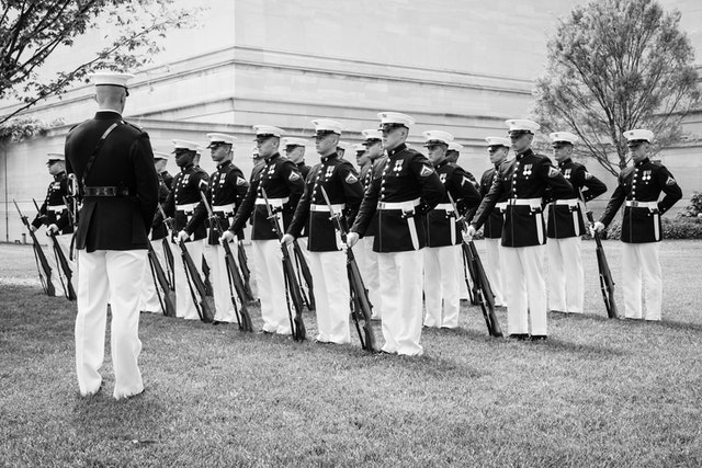 Marines in formation on the grounds of the National Gallery of Art in Washington, DC.
