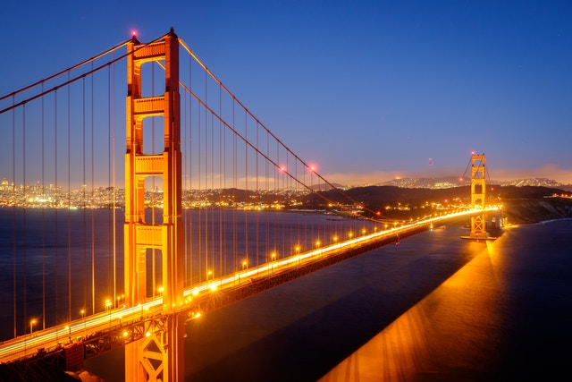 The Golden Gate Bridge at dusk, from Marin Headlands.