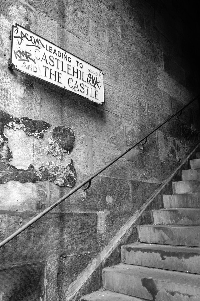 Stairs leading to Castlehill and Edinburgh Castle.