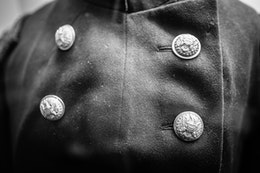 Union frock coat of the 14th New Jersey Volunteers, in an exhibit at the visitor's center of Monocacy National Battlefield.