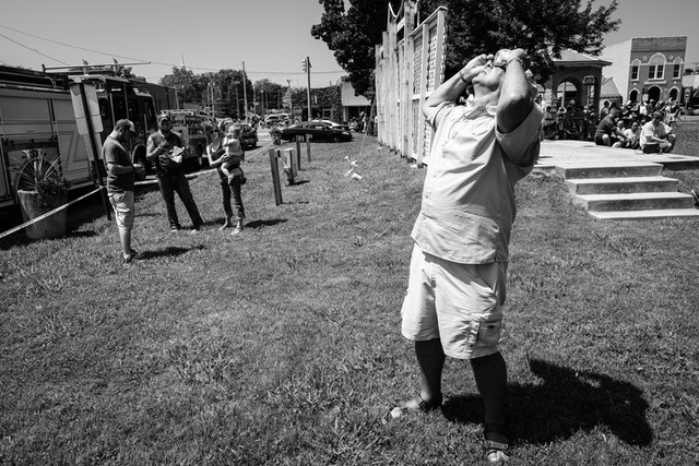 A man looking at the solar eclipse at the L&N Depot Museum in Etowah, Tennessee.