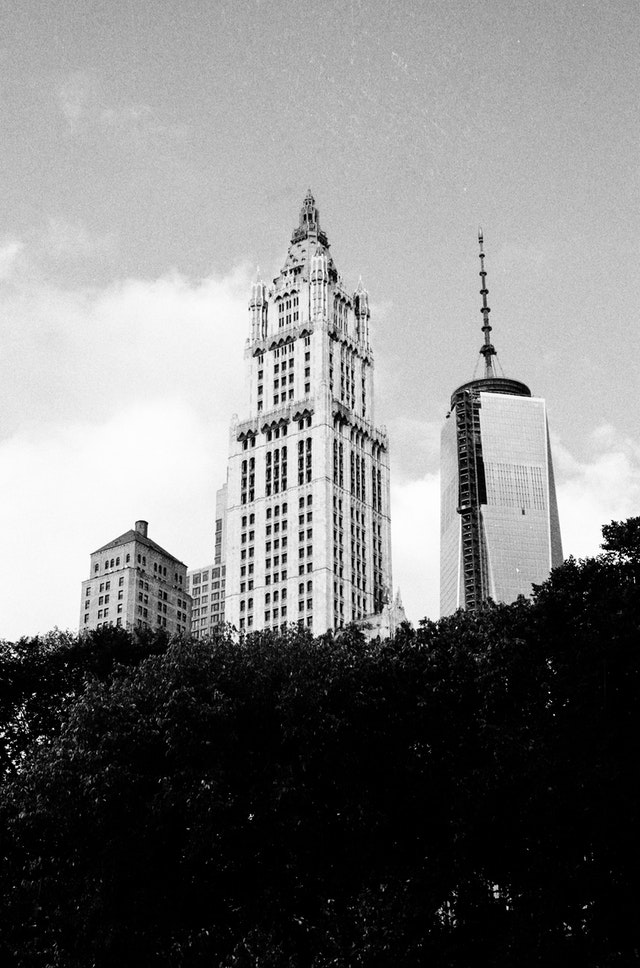 Buildings, including One World Trade Center, seen from City Hall Park, New York City.