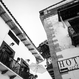Looking up at an inn in Taxco, Mexico.