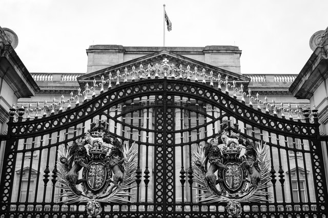 The main gates of Buckingham Palace.
